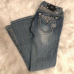 MissMe Buckle Bootleg Jeans light wash